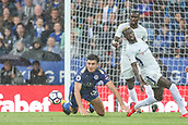 9th September 2017, King Power Stadium, Leicester, England; EPL Premier League Football, Leicester City versus Chelsea; Harry Maguire of Leicester City goes to ground in the Chelsea box