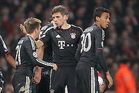 19.02.2013, Emirates Stadion, London, ENG, UEFA Champions League, FC Arsenal vs FC Bayern Muenchen, Achtelfinale Hinspiel, im Bild Philipp LAHM (FC Bayern Muenchen - 21) und Thomas MUELLER (FC Bayern Muenchen - 25) nach 31 // during the UEFA Champions League last sixteen first leg match between Arsenal FC and FC Bayern Munich at the Emirates Stadium, London, Great Britain on 2013/02/19. EXPA Pictures © 2013, PhotoCredit: EXPA/ Eibner/ Ben Majerus..***** ATTENTION - OUT OF GER *****