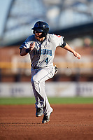 Lake County Captains right fielder Trenton Brooks (4) runs the bases during a game against the Quad Cities River Bandits on May 6, 2017 at Modern Woodmen Park in Davenport, Iowa.  Lake County defeated Quad Cities 13-3.  (Mike Janes/Four Seam Images)