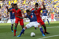 BOGOTÁ- COLOMBIA,06-10-2019:Cristian Arango (Centro.) jugador de Millonarios disputa el balón con Cesar Hinestroza  (Izq.) y Martin Payares (Der.)jugadores de Patriotas Boyacá durante partido por la fecha 15 de la Liga Águila II 2019 jugado en el estadio Nemesio Camacho El Campín de la ciudad de Bogotá. /Cristian Arango (C) player of Millonarios fights the ball  against of Cesar Hinestroza (L) and Martin Payares (R)player of Patriotas Boyaca during the  match for the date 15 of the Liga Aguila II 2019 played at the Nemesio Camacho El Campin stadium in Bogota city. Photo: VizzorImage / Felipe Caicedo / Staff