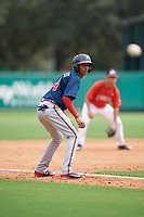 Atlanta Braves Juan Morales (24) leads off third base during a Florida Instructional League game against the Canadian Junior National Team on October 9, 2018 at the ESPN Wide World of Sports Complex in Orlando, Florida.  (Mike Janes/Four Seam Images)