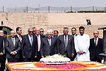 Palestinian President Mahmoud Abbas lays a wreath during a visit to Rajghat, memorial Mahatama Gandhi, in New Delhi, India, May 16, 2017. Palestinian President Mahmoud Abbas is on a four-day state visit to India until May 17. Photo by Thaer Ganaim