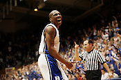 Nolan Smith celebrates after scoring whilst being fouled during the first half of the Blue Devil's match-up against long-tim rival UNC at Cameron Indoor Stadium, Sat., March 6, 2010. Duke decimated UNC 82-50..