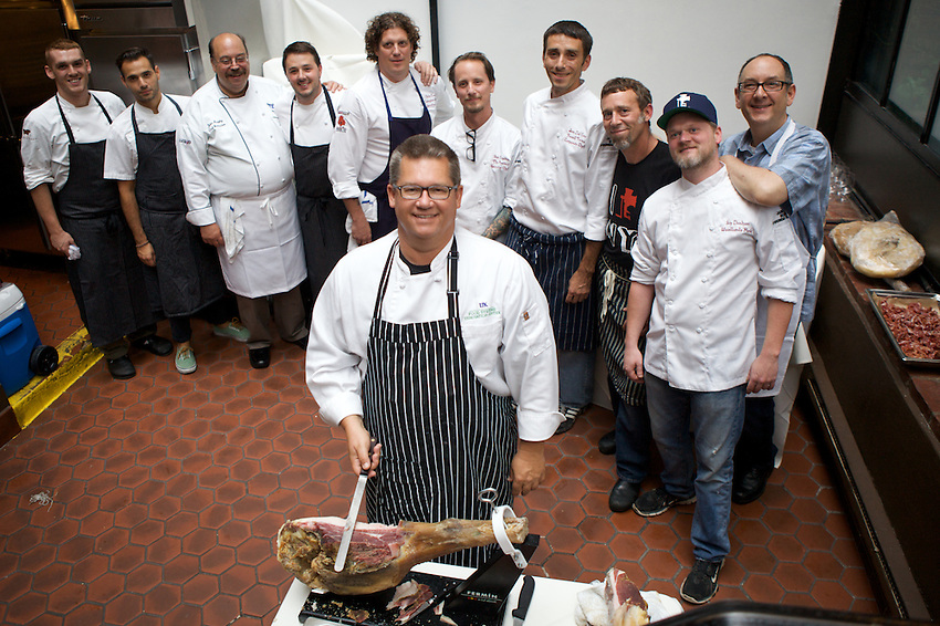 NEW YORK, NY - AUGUST 8, 2013: The team of chefs and cooks at the Heritage Pork Feast at the James Beard House. CREDIT: Clay Williams for the James Beard Foundation.<br /> <br /> &copy; Clay Williams / http://claywilliamsphoto.com