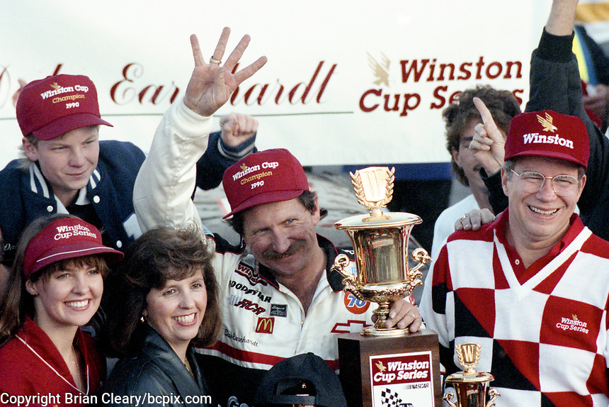 Dale Earnhardt celebrates his 4th Winston Cup championship, with son Dale Earnhardt Jr, top left, Atlanta Journal 500, Atlanta Motor Speedway, Hampton, GA, November 18, 1990. (Photo by Brian Cleary/bcpix.com)