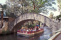 Sightseeing boat, River Walk or Paseo del Rio in San Antonio, Texas