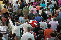 People in prayer during Easter Sunday services at Nairobi's Winner's Chapel, a fast growing evangelical Christian Church, founded in Nigeria.