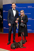Actors Tom Hiddleston, left, and Carrie Fisher with her dog Gary arrive for the 2016 White House Correspondents Association Annual Dinner at the Washington Hilton Hotel on Saturday, April 30, 2016.<br /> Credit: Ron Sachs / CNP<br /> (RESTRICTION: NO New York or New Jersey Newspapers or newspapers within a 75 mile radius of New York City)