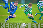 Killarney Athletics Danny Healy races against Killarney Celtics Shane Cronin during their U13 National Cup clash in Celtic Park, Killarney, on Saturday.