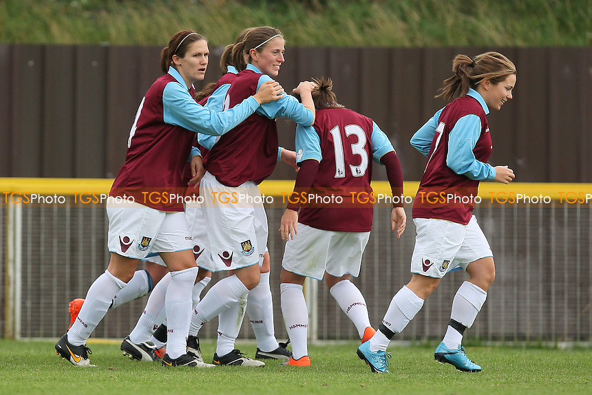 West Ham celebrate their first goal scored by Nina Downham (13) - West Ham United Ladies vs Charlton Athletic Women - FA Womens Premier League South Football at Ship Lane, Thurrock FC - 26/09/10 - MANDATORY CREDIT: Gavin Ellis/TGSPHOTO - Self billing applies where appropriate - Tel: 0845 094 6026