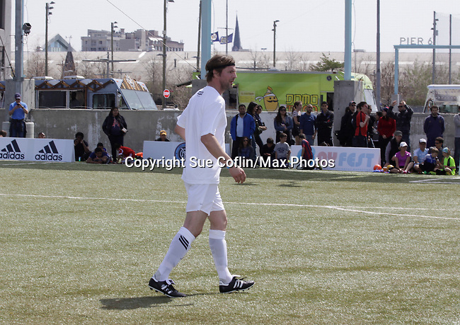 Celebs - actor Gale Harold and more participated in NYFEST - a celebrity soccer tournament lasting all day on April 19, 2014 at Pier 5, Brooklyn Bridge Park, Brooklyn, New York.  (Photo by Sue Coflin/Max Photos)