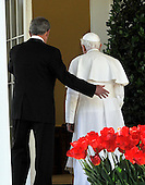 Washington, DC - April 15, 2008 -- Pope Benedict XVI and United States President George W. Bush enter the Oval Office after their walk along the Colonnade at the White House in Washington, D.C. on Wednesday, April 16, 2008.  .Credit: Ron Sachs / CNP.(RESTRICTION: NO New York or New Jersey Newspapers or newspapers within a 75 mile radius of New York City)