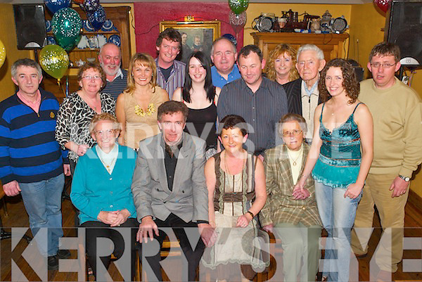 Party: Enjoying her surprise birthday party in Stokers Lodge, Tralee, on Sunday evening was Marie OBrien of St Brendans.Park (seated centre), along with her family. Front l-r: Mary OBrien, Tom OBrien, Marie OBrien (birthday girl),.Margaret ODonnell and Ciara OBrien. Middle row l-r: Derek Fleming, Rose Dowling, Sandra OBrien, Aisling OBrien,.Paudie ODonnell, Jerry OBrien and Brendan OBrien. Back row l-r: Barry Dowling, Donal OBrien, Peter ODonnell and.Maureen Fleming.