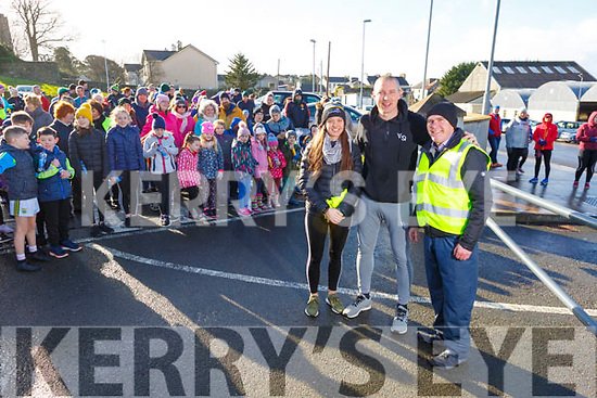 Ciara Murphy (Kerry Senior Ladies/Miltown/Listry Player), Kieran Donaghy and Liam Fell (Principal of Nagle Rice NS Milltown) ready to get the Family Walk & Fun Run underway in aid of Miltown Listry LGFA and the Nagle Rice Primary School in Milltown on Sunday