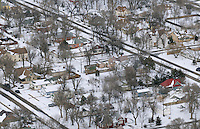 small town winter neighborhood