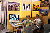 Burea 233 photo agency stand, Visa Pour L'Image festival of photojournalism, Perpignan, France.