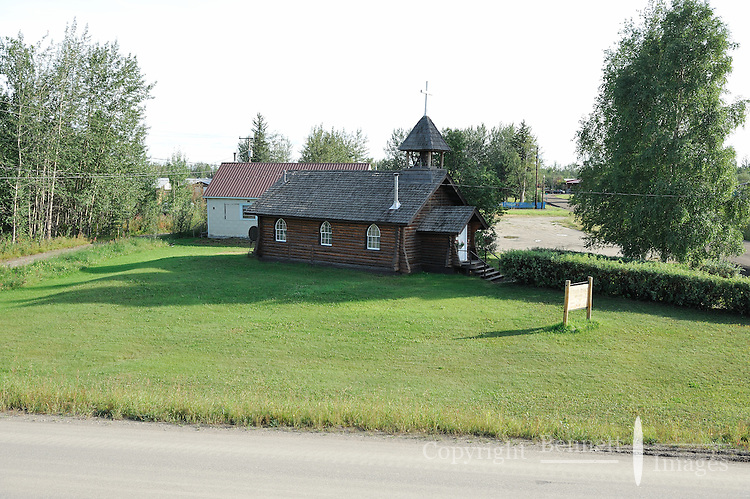 A log cabin church in Nenana, Alaska. The Alaska Railroad's Denali Star train runs between Anchorage and Fairbanks, with Denali one of the stops along the way.