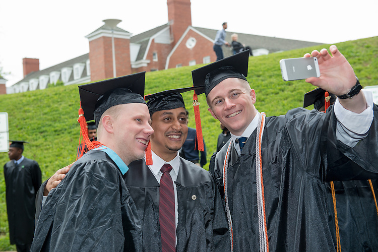 Russ College of Engineering students (Left to Right) Corey Gossard, Abdullah Al Abrik and Zackery George at undergraduate commencement. Photo by Ben Siegel