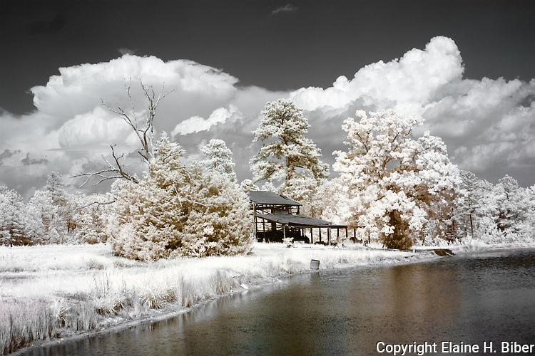 Infrared scene of farm with pole shed beside pond