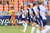 Houston, TX - Saturday July 15, 2017: Poliana Barbosa Medeiros looks to pass the ball during a regular season National Women's Soccer League (NWSL) match between the Houston Dash and the Washington Spirit at BBVA Compass Stadium.