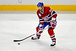 22 November 2008: Montreal Canadiens' defenseman Patrice Brisebois in action during the first period against the Boston Bruins at the Bell Centre in Montreal, Quebec, Canada.  After a 2-2 regulation tie and a non-scoring 5-minute overtime period, the Boston Bruins scored the lone shootout goal thus defeating the Canadiens 3-2. The Canadiens, celebrating their 100th season, honored former Montreal goaltender Patrick Roy, and retired his jersey (Number 33) during pre-game ceremonies. ***** Editorial Use Only *****..Mandatory Photo Credit: Ed Wolfstein Photo *** Editorial Sales through Icon Sports Media *** www.iconsportsmedia.com