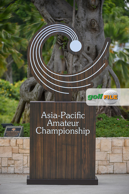 The Asia-Pacific Amateur Championship signage near the tee on 1 during Rd 3 of the Asia-Pacific Amateur Championship, Sentosa Golf Club, Singapore. 10/6/2018.<br /> Picture: Golffile | Ken Murray<br /> <br /> <br /> All photo usage must carry mandatory copyright credit (© Golffile | Ken Murray)