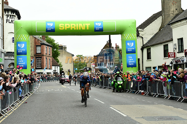 Harry Tanfield (BIK) from the breakaway takes the sprint points at Knaresborough during Stage 2 of the Tour de Yorkshire 2017 running 122.5km from Tadcaster to Harrogate, England. 29th April 2017. <br /> Picture: ASO/A.Broadway | Cyclefile<br /> <br /> <br /> All photos usage must carry mandatory copyright credit (&copy; Cyclefile | ASO/A.Broadway)