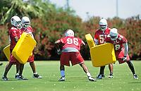 May 19, 2009; Tempe, AZ, USA; Arizona Cardinals linebacker (96) Chase Bullock does a drill during organized team activities at the Cardinals practice facility. Mandatory Credit: Mark J. Rebilas-