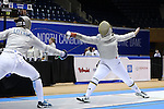 DURHAM, NC - FEBRUARY 26: Notre Dame's Claudia Kulmacz (right) scores a point against UNC's Jackie Litynski (left) in a Saber match in the Women's Team event. The Atlantic Coast Conference Fencing Championships were held on February, 26, 2017, at Cameron Indoor Stadium in Durham, NC.