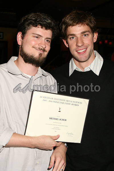 23 August 2006 - Century City, California. Michael Schur and John Krasinski. 58th Annual Primetime Emmy Award Nominees for Outstanding Writing Reception. Photo Credit: Byron Purvis/AdMedia