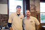 Winsted, CT-19, October 2017-101917CM02 Social moments from left Matthew Day and Nils Johnson with Little Red Barn Brewers are photographed during a CultureMIX event sponsored by The Northwest Connecticut Arts Council at the Mad River Lofts in Winsted on Thursday.   Christopher Massa Republican-American
