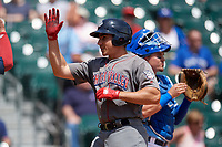 Lehigh Valley IronPigs Matt McBride (30) high fives teammates after hitting a home run during an International League game against the Buffalo Bisons on June 9, 2019 at Sahlen Field in Buffalo, New York.  Lehigh Valley defeated Buffalo 7-6 in 11 innings.  (Mike Janes/Four Seam Images)