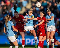 1st December 2019; Academy Stadium, Manchester, Lancashire, England; The FA's Women's Super League, Manchester City Women versus Liverpool Women; Niamh Fahey of Liverpool FC Women and Steph Houghton of Manchester City Women challenge for the header - Editorial Use
