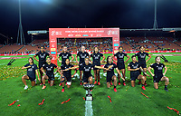The Black Ferns perform a haka after winning the women's cup final. Day two of the 2020 HSBC World Sevens Series Hamilton at FMG Stadium in Hamilton, New Zealand on Sunday, 26 January 2020. Photo: Dave Lintott / lintottphoto.co.nz
