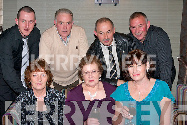 FRIEND: Friends from Keel, Lixnaw who met up in the Earl of Desmond Hotel, Tralee on Friday night. Front l-r: Kay Shanahan, Winnie Edwards and Colette Linehan. Back l-r: Michael Shanahan, Michael Edwards, Gerard Linehan Mike Shanahan...................   Copyright Kerry's Eye 2008