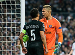 Goalkeeper Alphonse Areola (R) of Paris Saint Germain argues with teammate Marcos Aoas Correa, Marquinhos, during the UEFA Champions League 2017-18 Round of 16 (1st leg) match between Real Madrid vs Paris Saint Germain at Estadio Santiago Bernabeu on February 14 2018 in Madrid, Spain. Photo by Diego Souto / Power Sport Images