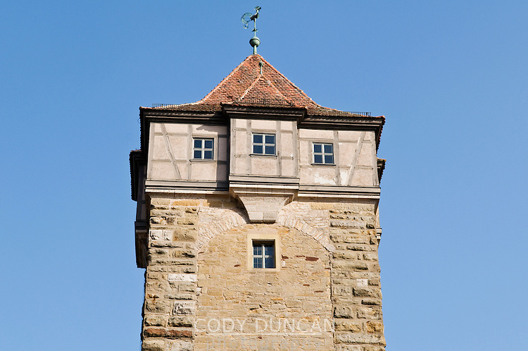 Historic stone watch tower, Rothenburg ob der Tauber, Franconia, Bavaria, Germany