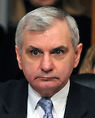 Washington, D.C. - January 8, 2009 -- United States Senator Jack Reed (Democrat of Rhode Island) listens to the testimony of former United States Senator Tom Daschle (Democrat of South Dakota) before the United States Senate Committee on Health, Labor, Education, and Pensions on Daschle's nomination to be Secretary of Health and Human Services in Washington, D.C. on Thursday, January 8, 2009..Credit: Ron Sachs / CNP