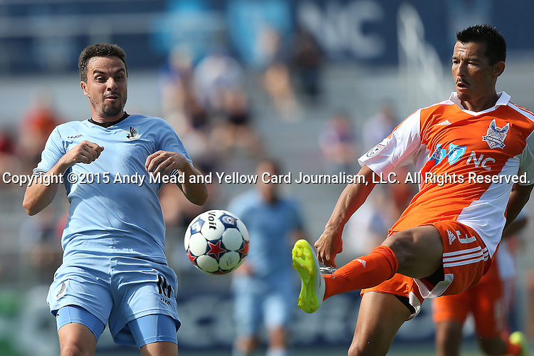 04 July 2015: Carolina's Kupono Low (3) and Minnesota's Daniel Mendes (BRA) (18). The Carolina RailHawks hosted Minnesota United FC at WakeMed Stadium in Cary, North Carolina in a North American Soccer League 2015 Fall Season match. Carolina won the game 3-1.