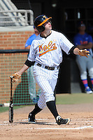 Tennessee Volunteers second baseman Will Maddox #1 swings at a pitch during a game against the Florida Gators at Lindsey Nelson Stadium, Knoxville, Tennessee April 14, 2012. The Volunteers won the game 5-4  (Tony Farlow/Four Seam Images)..