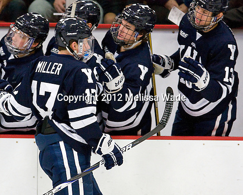 Andrew Miller (Yale - 17) - The Yale University Bulldogs defeated the Harvard University Crimson 5-1 on Saturday, November 3, 2012, at Bright Hockey Center in Boston, Massachusetts.