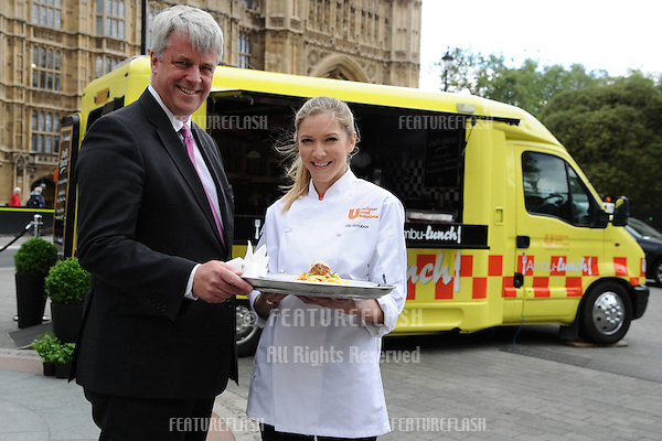 Health Secretary Andrew Lansley and Celebrity Masterchef winner, Lisa Faulkner launches the 'Ambu-lunch' campaign to cut calories in food at the Houses of Parliament, London. 18/06/2012 Picture by: Steve Vas / Featureflash