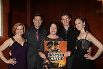 Bonnie & Clyde cast CD goes on sale tomorrow as the cast Leslie Becker, Victor Hernandez, Mimi Bessette, Claybourne Elder and Melissa van der Schyff perform and support the Broadway Extravaganza to honor the Candidacy of Artist Jane Elissa for the Leukemia & Lymphoma Society, Man & Woman of the Year on April 23, 2012 at the New York Marriott Marquis, New York City, New York.  (Photo by Sue Coflin/Max Photos)