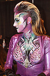 Model poses with body paint by Mehron Makeup, during the 2013 International Beauty Show at the Javits Convention Center in New York City on April 15, 2013.