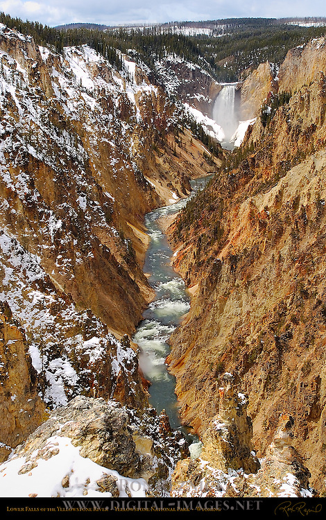 Lower Falls in Winter, Grand Canyon of the Yellowstone River, Yellowstone National Park, Wyoming