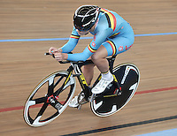 CALI – COLOMBIA – 28-02-2014: Lotte Kopecky de Belgica durante la prueba de Persecucion Individual Damas en el Velodromo Alcides Nieto Patiño, sede del Campeonato Mundial UCI de Ciclismo Pista 2014. / Lotte Kopecky of Belgium during the test of the Women´s Individual Persuit at the Alcides Nieto Patiño Velodrome, home of the 2014 UCI Track Cycling World Championships. Photos: VizzorImage / Luis Ramirez / Staff.