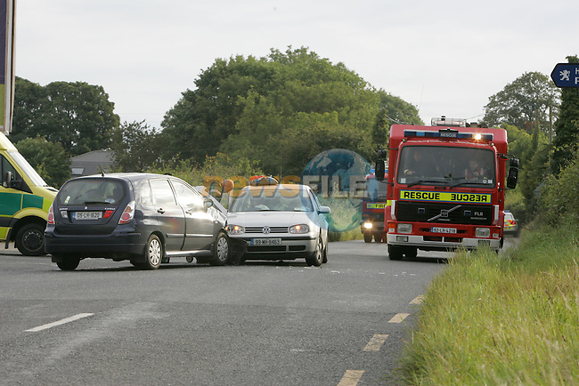 Drogheda fire service attended an rta on the junction of Matthews Lane and Platin road. The two vehicle accident happened about 7.40 am blocking the Duleek road to the motorway. The Driver of the silver golf was removed removed to Our lady of Lourdes Hospital in Drogheda, and the occupants of the other vehicle was treated for shock at the scene..Photo: Newsfile/Fran Caffrey.