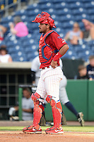 Clearwater Threshers catcher Gabriel Lino (40) during a game against the Tampa Yankees on June 26, 2014 at Bright House Field in Clearwater, Florida.  Clearwater defeated Tampa 4-3.  (Mike Janes/Four Seam Images)