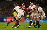 Wales' Hadleigh Parkes is tackled by Englands' George Ford<br /> <br /> Photographer Bob Bradford/CameraSport<br /> <br /> NatWest Six Nations Championship - England v Wales - Saturday 10th February 2018 - Twickenham Stadium - London<br /> <br /> World Copyright &copy; 2018 CameraSport. All rights reserved. 43 Linden Ave. Countesthorpe. Leicester. England. LE8 5PG - Tel: +44 (0) 116 277 4147 - admin@camerasport.com - www.camerasport.com