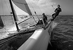 Onboard during a training session on a F18 before the Eurocat 2011, the great catamaran in Carnac, Brittany, France..Andrew MacPherson.Junior.Hobie cat.Wild Cat